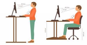 ilustração de trabalho em Postura correta trabalho sentado e trabalho em pé