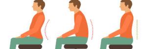 ilustração de ergonomia postura sentado para evitar dor na lombar